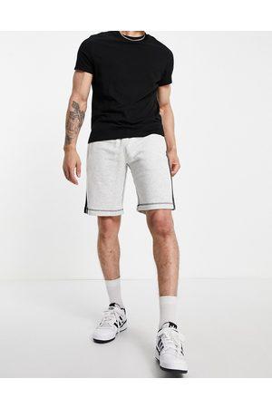 adidas Originals SPRT three stripe contrast stitch shorts in grey