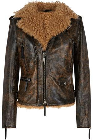 Giuseppe Zanotti Damen Lederjacken - Amelia shearling-lined jacket