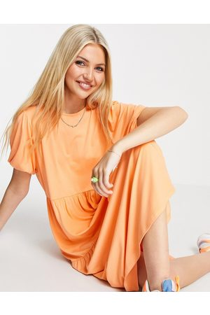 ASOS DESIGN Tiered smock t-shirt midi dress in coral