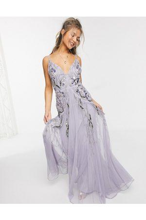 ASOS DESIGN Floral embellished mesh godet maxi dress in lilac-Purple