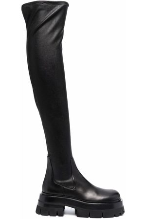VERSACE Leather over-the-knee boots