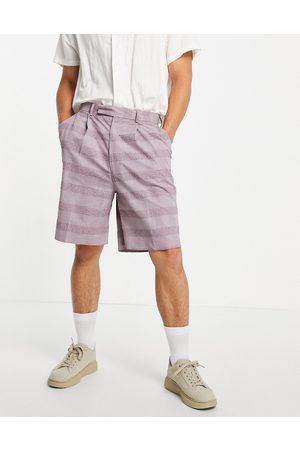 ASOS High waist slim smart shorts in lilac seersucker linen-Purple