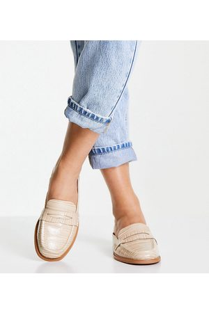 ASOS Wide Fit Maximal 90's mule loafers in croc-Neutral