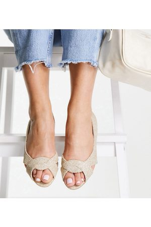 ASOS Wide Fit Vale peeptoe ballet flats in natural-Neutral