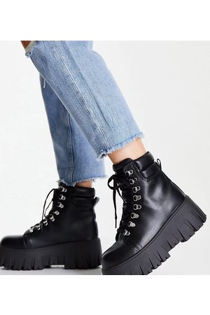 ASOS Wide Fit Anastasia chunky hiker lace up boots in black