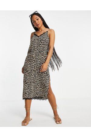 ASOS Lace trim midi slip dress in animal print-Multi