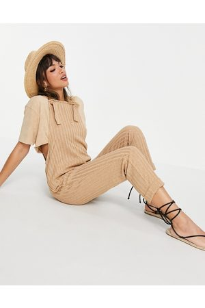 ASOS Knitted dungaree jumpsuit in camel-Brown