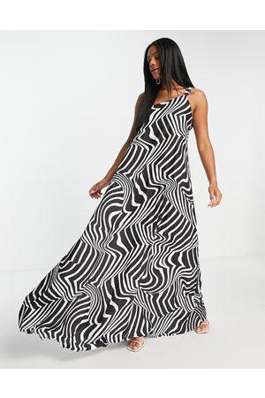 ASOS One shoulder scrunch elastic pleated maxi dress in zebra print-Multi