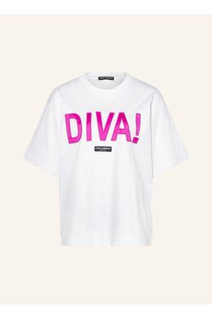 Dolce & Gabbana Damen Shirts - T-Shirt Diva weiss