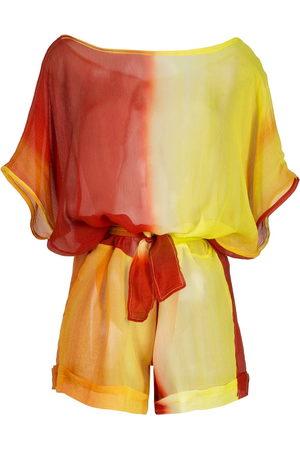 AMIR SLAMA Printed silk playsuit