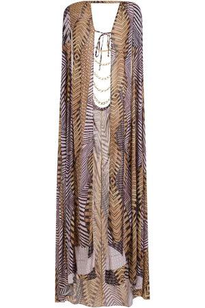 AMIR SLAMA Printed cape beach dress