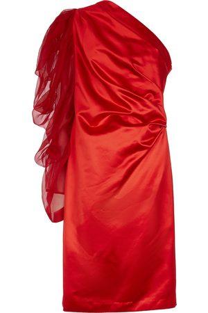 DRIES VAN NOTEN One-Shoulder-Kleid aus Satin und Tüll