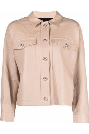 Philipp Plein Leather cropped shirt jacket