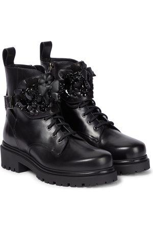 RENÉ CAOVILLA Verzierte Ankle Boots aus Leder
