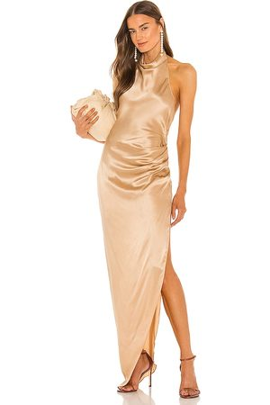 Amanda Uprichard X REVOLVE Samba Gown in - Beige,Metallic Neutral. Size L (also in XS, S, M).