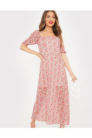 In The Style X Jac Jossa flutter sleeve midi dress with thigh split in red floral print-Multi