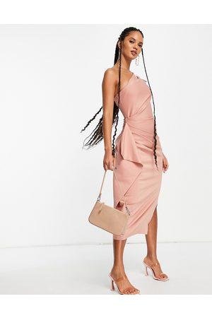 ASOS Damen Asymmetrische Kleider - One shoulder puff sleeve ruffle midi dress in rose-Pink
