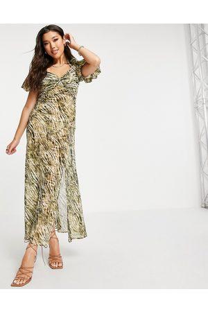 ASOS Damen Bedruckte Kleider - Twist front maxi dress in tie dye animal print-Multi