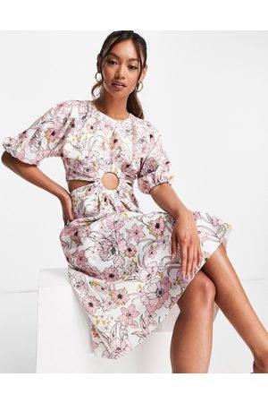 ASOS Damen Bedruckte Kleider - Cut out ring skater midi dress in floral print-Multi