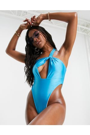 I Saw It First One shoulder swimsuit in blue