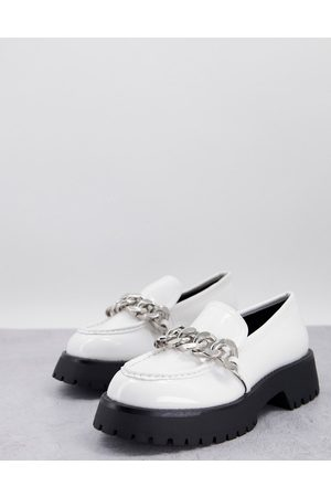 ASOS Wide Fit Mai chunky chain loafers in black patent