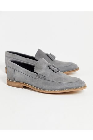 ASOS DESIGN Loafers in grey suede with tassel on natural sole