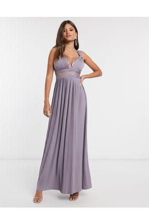 ASOS DESIGN Premium twist strap lace insert maxi dress in sky blue