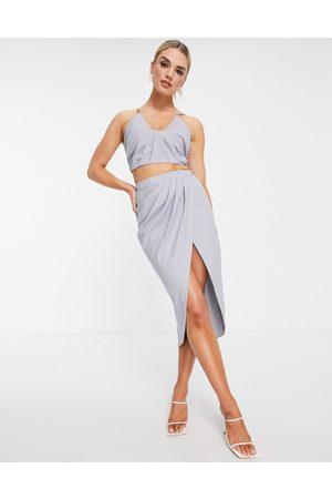 ASOS Co ord drape detail midi skirt in blue