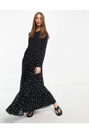 ASOS Shirred tiered maxi dress in mono spot print-Multi