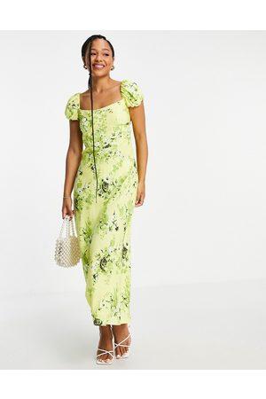 ASOS Corset detail cap sleeve midi dress with split in zesty floral print-Multi