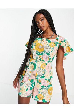 Topshop 70s floral playsuit-Multi