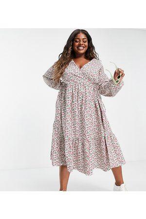 Glamorous Curve Midi wrap dress in ditsy cherry print-Multi
