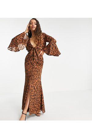 ASOS ASOS DESIGN Petite Satin stripe maxi dress in abstract animal print-Multi
