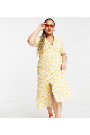 ASOS Curve ASOS DESIGN Curve ultimate midi tea dress in yellow floral print-Multi