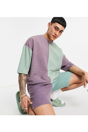 ASOS DESIGN Co-ord slim waffle shorts in colour block-Multi
