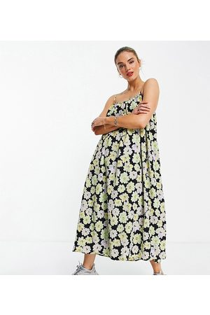 Annorlunda Cami maxi smock dress in retro floral-Multi