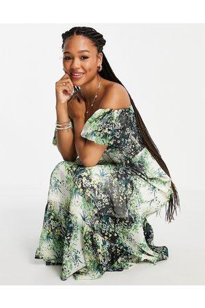 Miss Selfridge Chifon bardot maxi dress in green ditsy