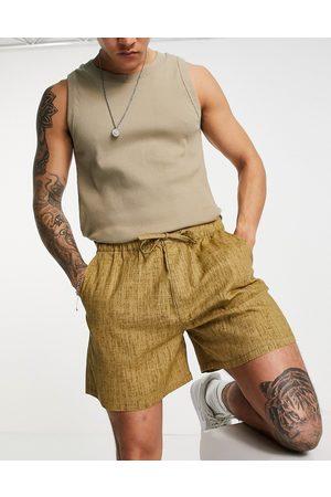 ASOS DESIGN Wide shorts in linen look-Brown