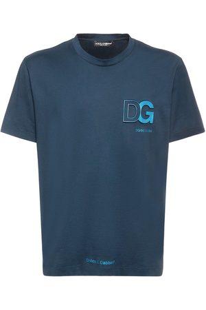 DOLCE & GABBANA Herren Shirts - T-shirt Aus Baumwolljersey Mit Logoprägung