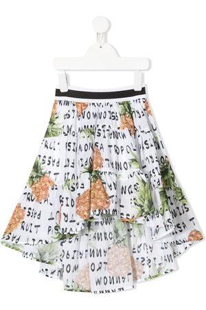 MONNALISA Pineapple print ruffle midi skirt