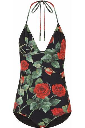Dolce & Gabbana Damen Badeanzüge - Rose-print swimsuit
