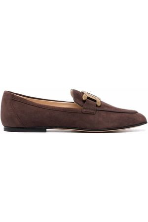 Tod's Chain-plaque suede loafers