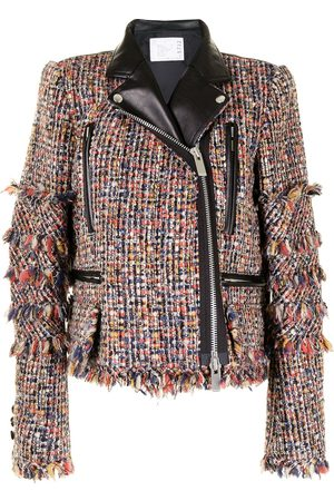 SACAI Damen Lederjacken - Padded tweed biker jacket