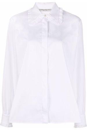 Alessandra Rich Damen Shirts - Lace-trimmed collar shirt