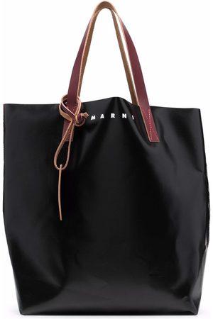 Marni Logo-print leather tote bag