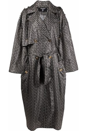 Balmain Monogram-pattern trench coat