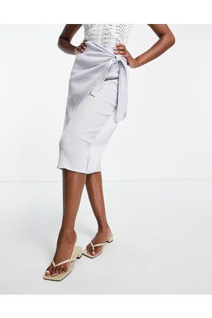 ASOS Wrap midi skirt in natural crinkle in dusty blue