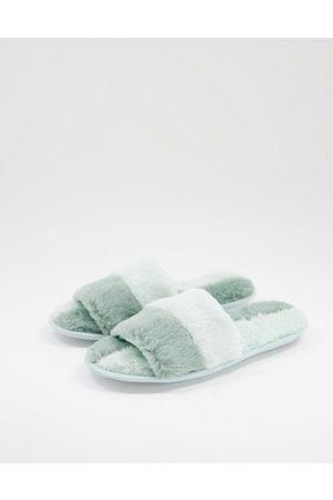 Loungeable Damen Clogs & Pantoletten - 2 colour faux fur splice slider in tonal green