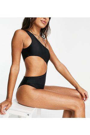 Public Desire Damen Badeanzüge - One shoulder cut out swimsuit in black