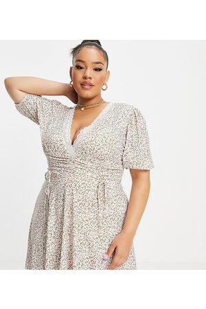 ASOS ASOS DESIGN Curve mini dress with ruched waist and lace trim in ditsy floral-Multi